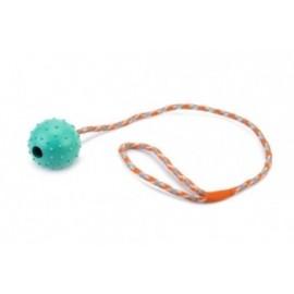 Rubber bal 6 cm hol met bel en 60 cm touw