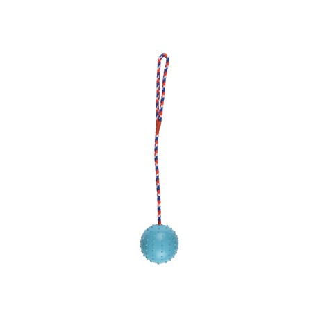 Rubberbal 6 cm met bel en koord 30 cm blauw